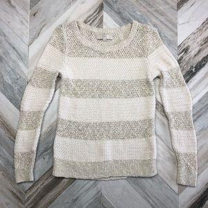 Ann Taylor LOFT Cream Striped Knit Sweater Small